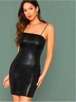 Black Crocodile Print Embossed Cami Bodycon Cocktail Party Dress Sz XS S M L XL
