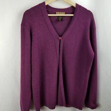 Finity Naturals Womens Sweater Size L Purple Cardigan Long Sleeve Merino Wool Bl