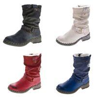 Damen Winter Stiefel echt Leder gefüttert Stiefeletten TMA 5005 Schuhe Boots