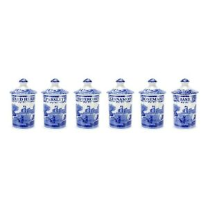 Portmeirion Spode Spice Jars, Blue Italian, Set of 6 (1389542)
