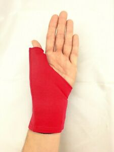 Thumb Splint/Brace Cover, Red. Protects clothing and furnishings