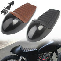 Black/Brown Retro Vintage Hump Styling Cushion Rear Seat Pan Base For Cafe Racer