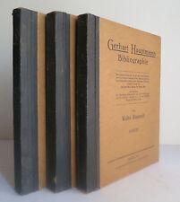 Gerhart Hauptmann Bibliographie Vols 1-3 1931 German Writer Bibliography