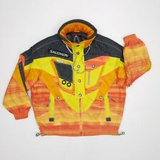 "Vintage 80s/Eighties Salomon Ski Jacket Large P2P 28"" Orange Black Crazy Wavey"