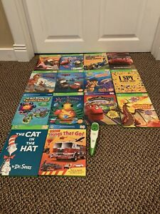 Leap Frog TAG Reader Pen & Books (Lot of 14 Reading Learning System Books)