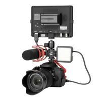 3 Hot Shoe Mount Adapter Microphone Mini LED Video Light for Digital DSLR Camera