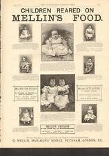 1892 ANTIQUE PRINT- ADVERT- CHILDREN REARED ON MELLIN'S FOOD