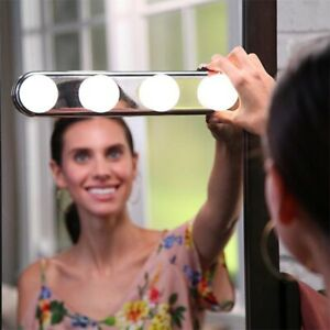 Led Vanity Mirror Lights Makeup Suction 4 Bulbs Portable Hollywood Style Lamps