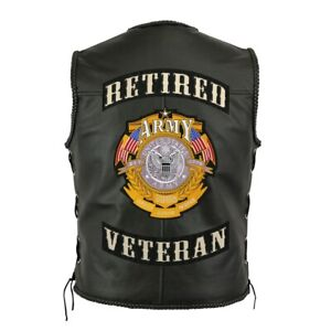 """Retired Veteran Rocker + Army Patches   Embroidered Military Patch   Large 12"""""""