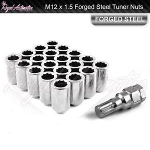 20 M12x1.5 Tuner Wheel Nuts Slim Internal Drive Mazda Mitsubishi Ford JDM Chrome