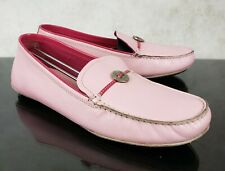 Cole Haan Pink Leather Slip On Moccasin Loafer Flats Button Accent Women's 7 B