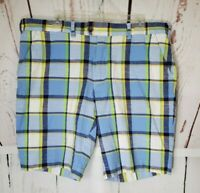 Loudmouth Golf Shorts Men's Size 38 Plaid Blue Yellow Green Cotton Blend