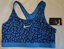 BNWT WOMEN'S Nike Dri-Fit Blu/Nero Supporto Medio Trainning Reggiseno Sportivo L