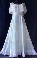 Vtg 70s Anita Fontana Sheer Ivory floral Lace Boho hippie Gunne style dress XS