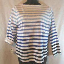 Talbots Petites Top SZ XLP Blue & White Stripes Long Tab Sleeve New With Tag 982