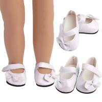 1 Pair White Pu Bow Shoes Dolls Accessories Suitable Girl For 18 Inch Doll I0N1