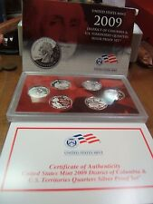 2009 6 Coin US Mint Silver Quarters Proof Set w/ Box and Cert DC and Territories
