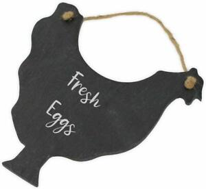 "Personalised Slate Hanging Chicken Hen Kitchen Sign Plaque ""Fresh Eggs"""