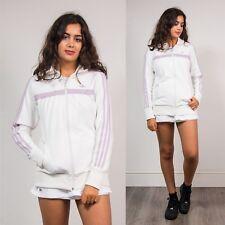 Para Mujer Chaqueta De Chándal Adidas Originals Top Blanco Lila Pastel A Rayas Sports 12