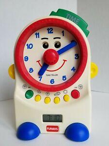 1995 Playskool Teachin' Time Talking Clock Toy Digital & Dial ~ ONLY TIME WORKS