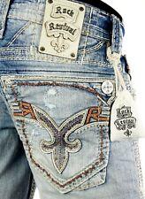 "$220 Mens Rock Revival Jeans ""Creston"" Leather Inserts Straight Leg 32 X 30"