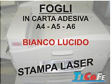 Carta ADESIVA A4 BIANCA LUCIDO * stampa laser  fotocopie A4 * 35 fogli