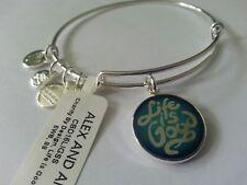 Alex and Ani Life Is Good Shiny Silver Charm Bangle Bracelet Nwt Tag & Box