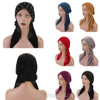 Fashion Women Velvet Bead Long Head Scarf Islam Hijab Headwear Turban Chemo Cap