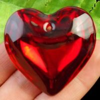 8pcs Red Crystal Heart Pendant Bead 44x15mm D43934