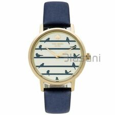 Kate Spade Original KSW1022 Women's Metro Bird on Wire Navy Leather Watch 34mm
