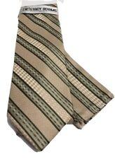 Stacy Adams Men's Tie & Hanky Set Beige Hunter Green & Sage Hand Made Microfiber