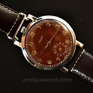 Vintage Rolex chronometer precision military pilots driver mens trench watch