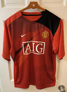 Nike Manchester United FC Soccer Football Jersey MUFC Men Medium AIG Red Devils