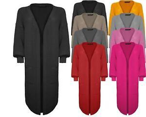 Ladies Women Oversized Knitted Balloon Sleeve Edge To Edge Long Line Cardigan