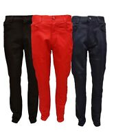 Mens Peviani Designer Stretch Slim Straight Fit Chinos Trousers Jeans All Waist