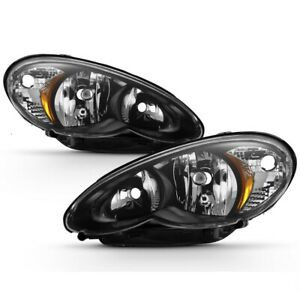 Fit Chrysler 06-10 PT Cruiser Black Housing Replacement Headlights Left + Right