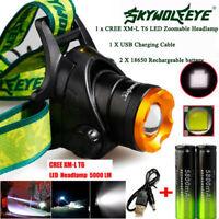 5000LM XM-L T6 Headlamp Headlight Head Light LED Rechargeable USB+2*Battery