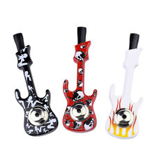 New Arrival guitar design tobacco smoke herb metal pipe smoke pipe with 5 Filter