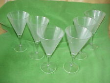 Set of 6 Tall Martini 8 oz. Textured Plastic/Acrylic Fancy Cocktail Glasses