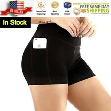 Yoga Shorts Women's Black High Waist Side Pocket NWT Active Size S,M,L,XL