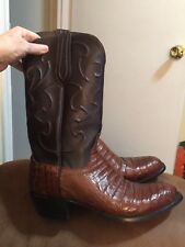 LUCCHESE MENS VAMP GENUINE CAIMAN SIZE 9D EXOTIC COWBOY/WESTERN BOOTS