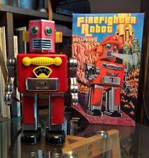 RARE PAPASAN FIREFIGHTER ROBOT - 2004 ROBERT G JOHNSON tin toy for parts only