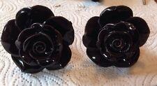 2 X Bombay Duck, Negro Vintage Rosa Flor Cerámica Cajón, Armario, las perillas de puerta