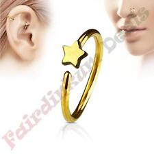 316L Surgical Steel Gold Ion Plated Nose & Ear Cartilage Ring with Star