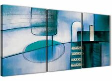 3 Panel Teal Cream Painting Kitchen Canvas Accessories - Abstract 3417 - 126cm