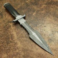 Dagger -Custom Handmade Damascus Steel Dagger Knife & Buffalo Horn Handle