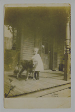 RPPC   Young Girl with her Dog,  White Dress, Dress Shoes  AZO 1904 -1918