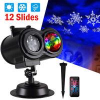 12 Slides Ocean Wave Snowflake Christmas Projector Light LED Outdoor Laser Light