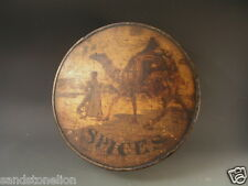 Rare Antique Spice box trimmed / tin ARABIAN CAMEL TOP LID Newark, N.J.SET OF 8