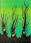 ACEO Original Acrylic Creepy Whimsical Trees Ravens Miniature ATC Art HYMES